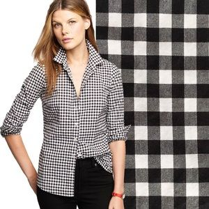 J Crew perfect shirt black white gingham XS